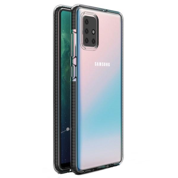 Θήκη TPU clear gel με πολύχρωμο πλαίσιο για Samsung Galaxy A71 μαύρο