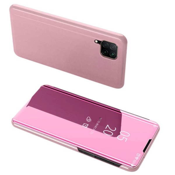 Θήκη Clear View Mirror book για Huawei P40 Lite / Nova 7i / Nova 6 SE ροζ χρυσό