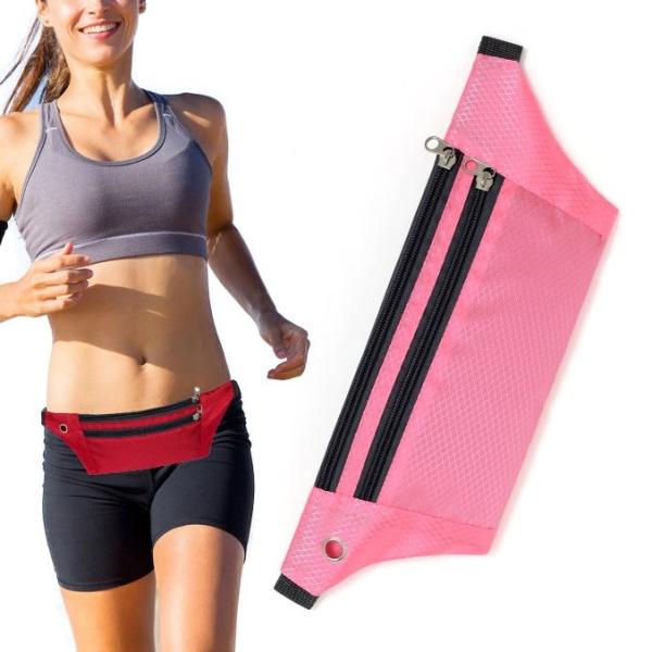 Ζώνη αποθήκευσης αντικειμένων με δύο θήκες για τρέξιμο με ειδική τρύπα για τα ακουστικά ροζ