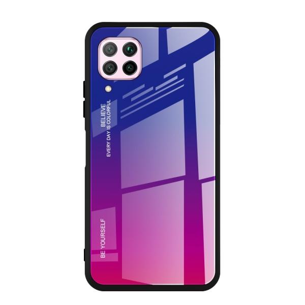 Θήκη Gradient Glass με tempered Glass στο πίσω μέρος για  Huawei P40 Lite / Nova 7i / Nova 6 SE ροζ μωβ