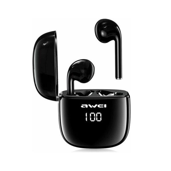 Ασύρματα ακουστικά AWEI T28P True Wireless Stereo (TWS) Bluetooth 5.0 μαύρα